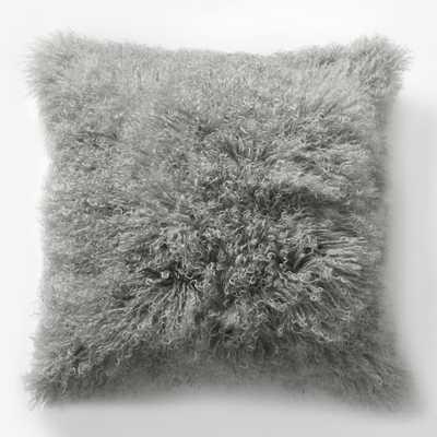 """Mongolian Lamb Pillow Cover - Platinum (16"""" Sq.) - West Elm"""
