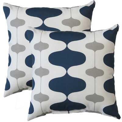 """Premiere Home Ivon Indoor/Outdoor Throw Pillow 17"""" x 17"""" - Oxford blue/grey - AllModern"""