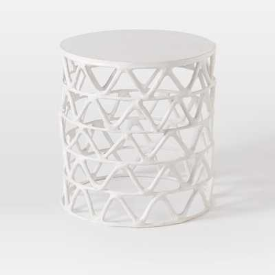 Papier-Mache Zig Zag Drum Side Table - West Elm