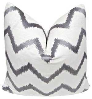 Silver Flame Stitch White Linen Pillow - One Kings Lane