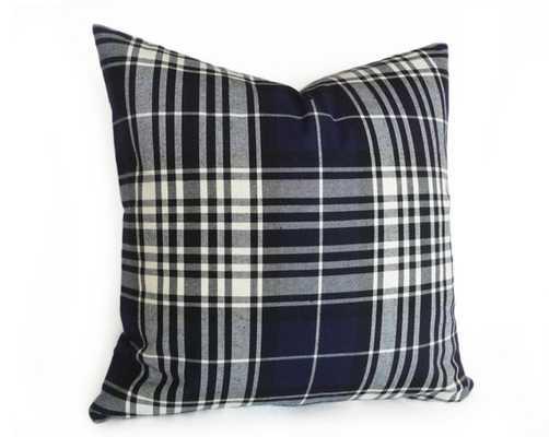 "Navy Blue White Tartan Pillow Cover - 18"" x 18"" - Insert Sold Separately - Etsy"