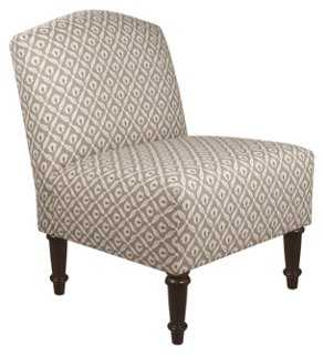 Clark Slipper Chair, Gray Geometric - One Kings Lane