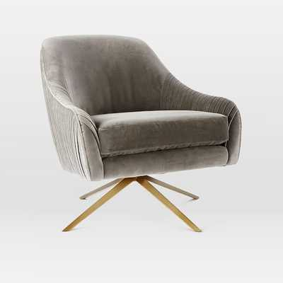 Roar + Rabbit Swivel Chair - Nickel, Como Velvet - West Elm