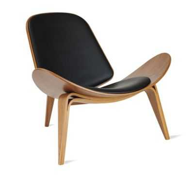 Shell Chair - Walnut - Leather (Loke) - Design Within Reach