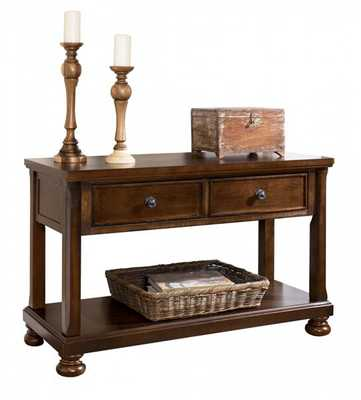Porter Traditional Rustic Brown Wood Sofa Console Table W/Storage - theclassyhome.com