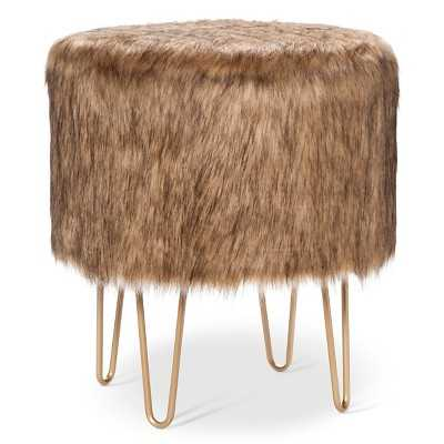 "Thresholdâ""¢ Fur Ottoman with Hairpin Legs - Target"