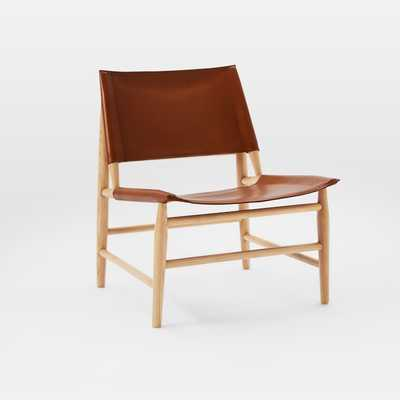 Leather Sling Chair, Brown - West Elm