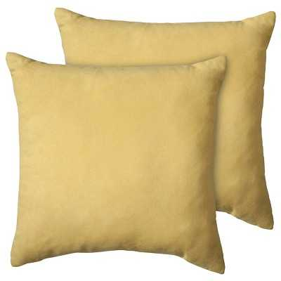 """Suede Pillow 2-Pack (18x18"""") - Yellow - Polyester fill - Target"""