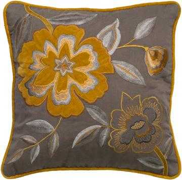 """FLORA EMBROIDERED 18"""" SQUARE KHAKI/ MUSTARD PILLOW - Polyester fill insert - Home Decorators"""