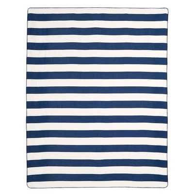 Cottage Stripe Fleece Blanket - Twin. Navy - Pottery Barn Teen
