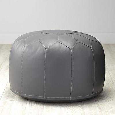 Grey Faux Leather Pouf - Land of Nod