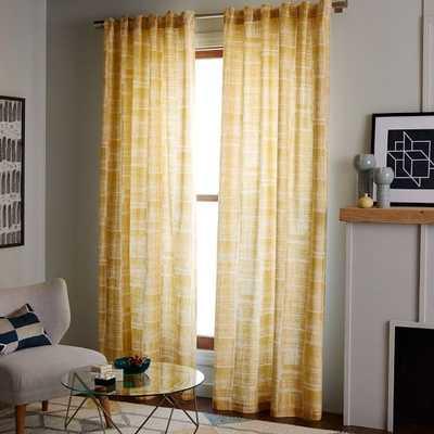 Mid-Century Cotton Canvas Etched Grid Curtain - West Elm