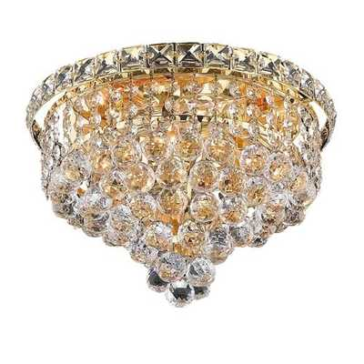 Elegant Lighting Tranquil Gold Four-Light 12-Inch Flush Mount with Royal Cut Clear Crystal - Bellacor