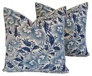 Indigo Blue Floral Linen Pillows, Pr - One Kings Lane
