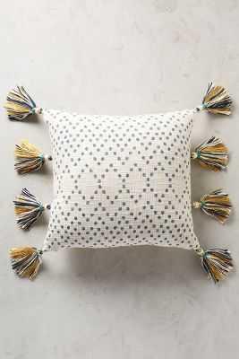 Tasseled Pointilliste Pillow - Turquoise - 18x18 -  Polyfill insert - Anthropologie