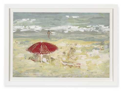 Red Umbrella Watercolor Artwork - Williams Sonoma