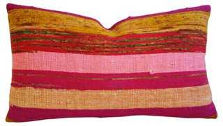 Hand-Looped/Tufted Chindi Fabric Pillow - One Kings Lane