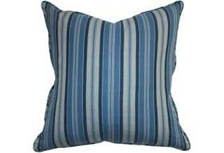 Striped 22x22 Chambray Pillow, Blue - One Kings Lane