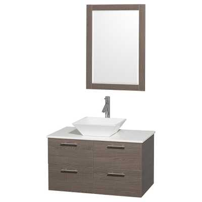 Wyndham Collection Amare Gray Oak Vessel Single Sink Bathroom Vanity with Engineered Stone Top - Lowes