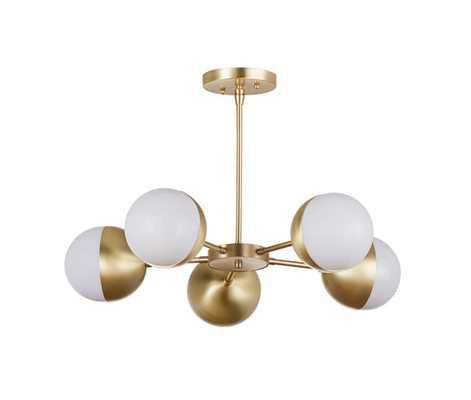 "5 Orb 13"" Chandelier - Modern Brass - Etsy"