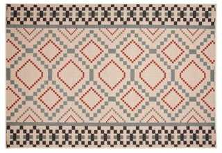 Adnois Outdoor Rug, Ivory/Blue - One Kings Lane