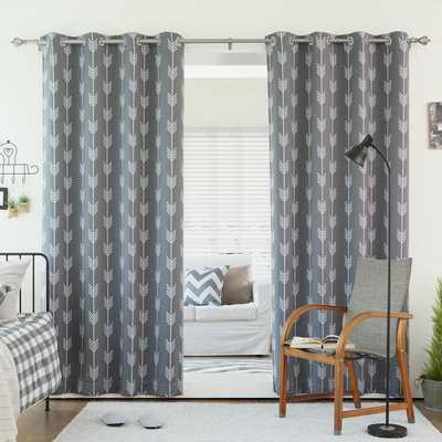Aurora Home Arrow Room Darkening Blackout Grommet 84-inch Curtain Panel Pair - Overstock