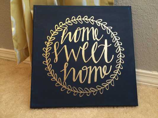 Home Sweet Home Home Decor Wall Art Painting Calligraphy - Etsy