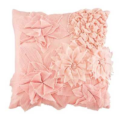 Pink Fresh Cut Floral Throw Pillow - Land of Nod