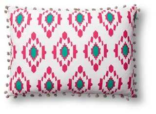 Diamond Ikat 14x20 Cotton Pillow, Pink - One Kings Lane