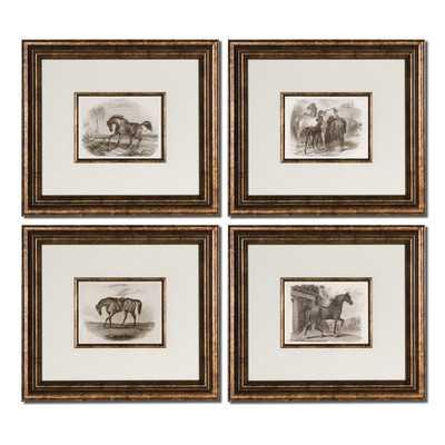 "Horses 4 Piece Framed Painting Print Set - 16.625"" H x 18.625"" W x 1.375"" D - Wayfair"