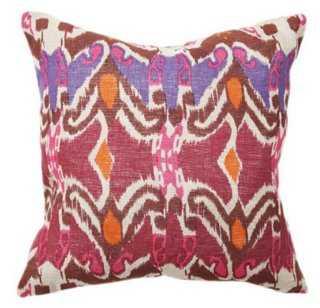 Boho Ikat 18x18 Cotton Pillow, Purple - One Kings Lane