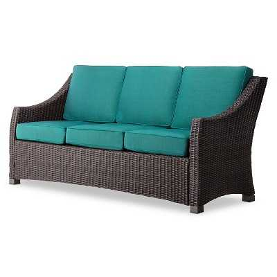 Belvedere Wicker Patio 3-Person Sofa - Turquoise - Target