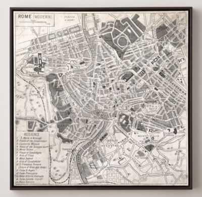 "VINTAGE AERIAL MAPS OF EUROPEAN CITIES - ROME - 28""W X 28""H - RH"
