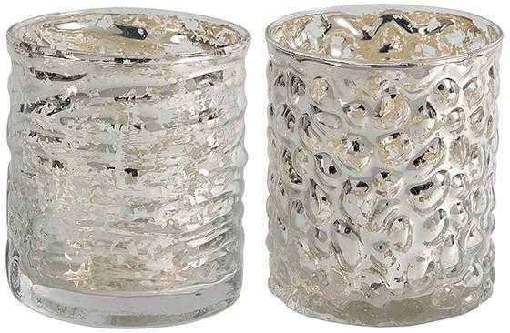 EVORA MERCURY GLASS CANDLE HOLDERS - SET OF 2 - Short - Home Decorators