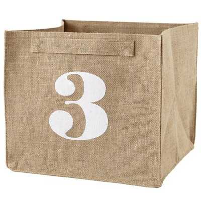 3 Store By Numbers Cube Bin - Land of Nod