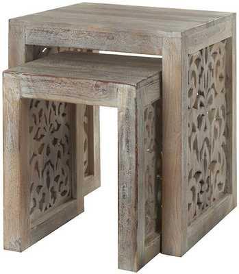 MAHARAJA NESTING TABLES - SET OF 2 - Sandblasted White - Home Decorators