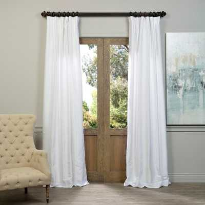 """EFF Ice White Vintage Faux Textured Dupioni Silk Curtain Panel - 120""""L x 50""""W - Overstock"""
