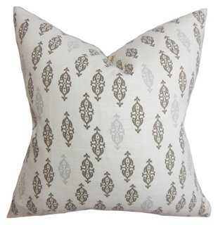 Boteh 18x18 Cotton Pillow, Gray - One Kings Lane