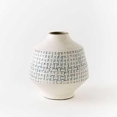 Basketweave Ceramic Short Vase - Short, Blue - West Elm