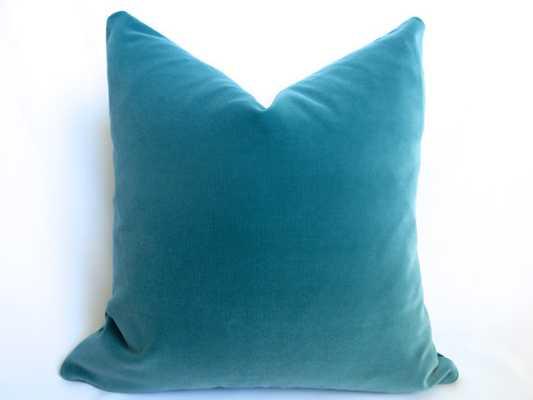 Belgium Cotton Velvet Teal Pillow Cover - 20sq. - Insert sold separately - Etsy
