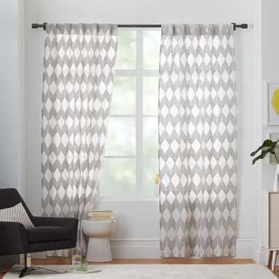 "Sheer Diamond 96"" Curtain - Pewter - West Elm"