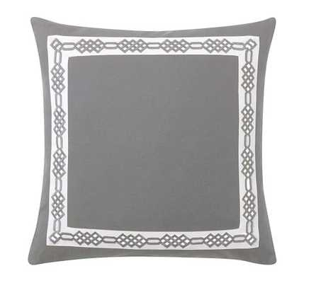 """MONOGRAMMABLE EMBROIDERED BORDER 18"""" PILLOW COVER - Gray - Insert sold separately - Pottery Barn"""