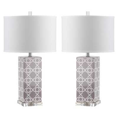 Safavieh Quatrefoil Table Lamp - Grey (Set of 2) - Target