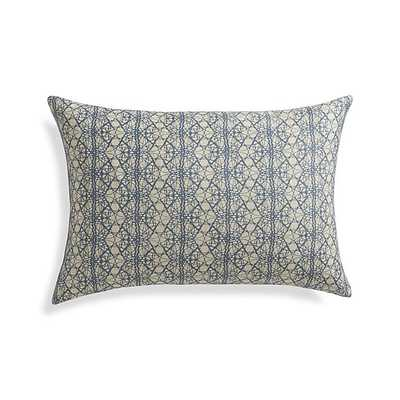 "Lira 22""x15"" Pillow - Blue on natural - With Feather-Down Insert - Crate and Barrel"