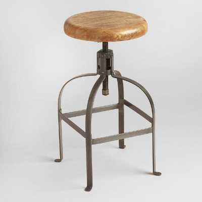 Adjustable Round Wood and Metal Stool - World Market/Cost Plus