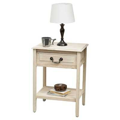 Banks End Table Accacia Wood Brushed Morning Mist - Target