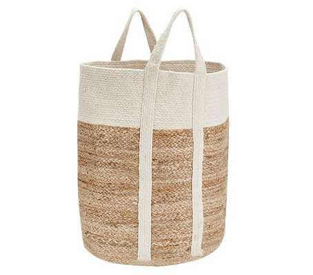 White Woven Jute Basket, Large - Pottery Barn Kids
