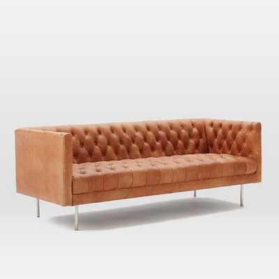 "Modern Chesterfield 79""Sofa, Leather, Oxblood, Brass Legs - West Elm"