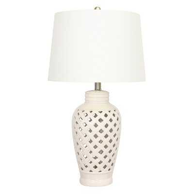 "Ceramic Table Lamp with Lattice Design - White  - 26"" - Target"