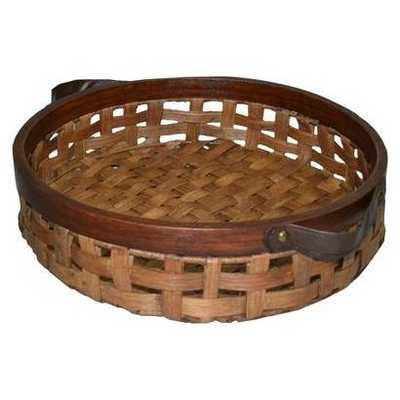 Threshold Rattan Large Round Tray - Domino